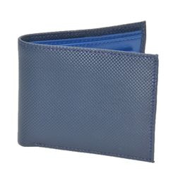 BLUE CHECKERED PRINT ITALIAN LEATHER WALLET