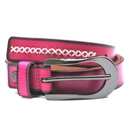 HIDEMARK LADIES LEATHER BELT IN HOT PINK WITH CROSS STITCH TRIM