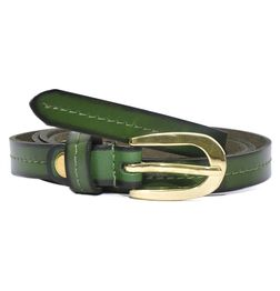 HIDEMARK VIPER GREEN SLIM LEATHER BELT FOR WOMEN WITH GOLDEN BUCKLE