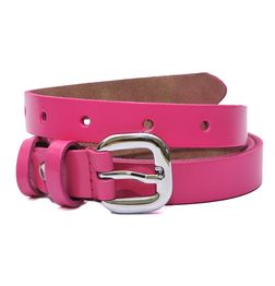 HIDEMARK SLIM LEATHER BELT FOR GIRLS - HOT PINK