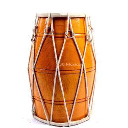 DHOLAK/DHOLKI-DRUMS- ROPE- Orange MADE-WITH-DHOLKI COMES WITH CARRY BAG