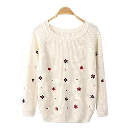 Beige floral embroidered sweater