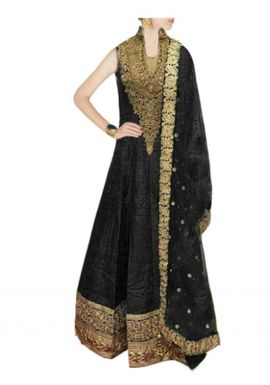 SALWAR.UK BLACK RAW SILK ANARKALI SUIT WITH EMBROIDERY WORK