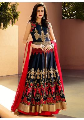 A147 SALWAR.UK Blue Art Silk Long Length Salwar Suits