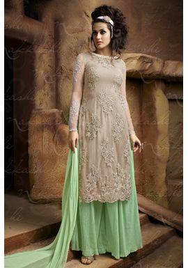 B754 Designer Off White And Green Georgette Palazzo Suit