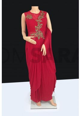 B758 Elegant Designer Readymade Red Suit