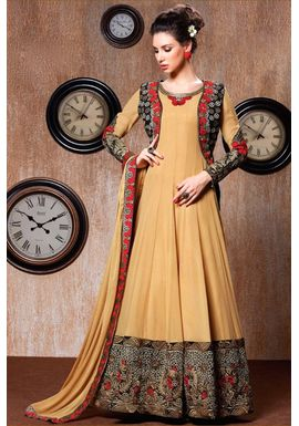 B759 Beige Faux Georgette Jacket Style Anarkali Suit