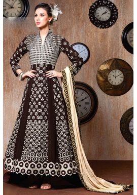 B760 Brown Faux Georgette Anarkali Suit