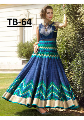A136 SALWAR.UK  Georgeous Blue Digital Print Partywear Gown