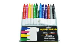 Pebeo SetaSkrib+ Marker - Large Point (2 mm) - Assorted Set of 12 Fabric Markers