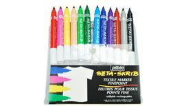 Pebeo SetaSkrib+ Marker - Fine Point (1 mm) - Assorted Set of 12 Fabric Markers