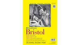 Strathmore 300 Series Bristol 9''x12'' Extra White Vellum 270 GSM Paper, Short-Side Tape Bound Pad of 20 Sheets