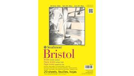 Strathmore 300 Series Bristol Smooth 11''x14'' Extra White Smooth 270 GSM Paper, Short-Side Tape Bound Pad of 20 Sheets