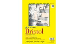 Strathmore 300 Series Bristol Smooth 9''x12'' Extra White Smooth 270 GSM Paper, Short-Side Tape Bound Pad of 20 Sheets