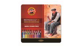 Koh-I-Noor Mondeluz Artist's Water Soluble Coloured Pencils - Assorted - Set of 24 in Tin Box