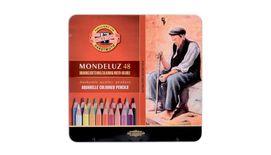 Koh-I-Noor Mondeluz Artist's Water Soluble Coloured Pencils - Assorted - Set of 48 in Tin Box