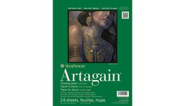 Strathmore 400 Series Artagain 6''x9'' Coal Black Light Grain 160 GSM Paper, Short-Side Glue Bound Pad of 24 Sheets