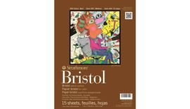 Strathmore 400 Series Bristol 11''x14'' Extra White Vellum 270 GSM Paper, Long-Side Tape Bound Pad of 15 Sheets