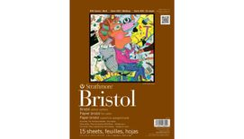 Strathmore 400 Series Bristol 9''x12'' Extra White Vellum 270 GSM Paper, Long-Side Tape Bound Pad of 15 Sheets