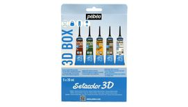 Pebeo Setacolor 3D Fabric Paint - 20 ml tubes - 3D Glitter Red & Green, 3D Metal Yellow Gold & Silver and 3D Brod' Line White