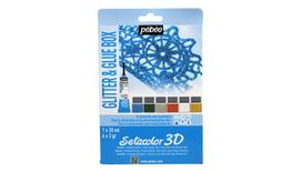 Pebeo Setacolor 3D - Set of 1 Glue (20 ml Tube) and 6 Glitter Powders (3 g each of Blue, Green, Silver, Red, Diamond & Gold)