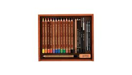 Koh-I-Noor Trio Aquarelle Artist's Coloured Pencils Art Set of 21 Pieces in Wooden Box