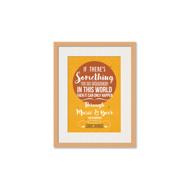 Music & Beer Framed Wall Art With Border Pine