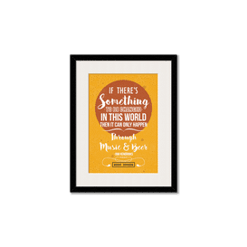 Music & Beer Framed Wall Art With Border White