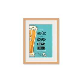 No Beer No Hear Framed Wall Art With Border Pine