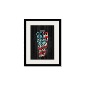 Red White & Beer Framed Wall Art With Border Black