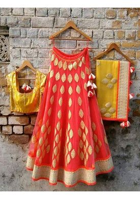 A129 SALWAR.UK B365Orange Designer Lehenga Choli