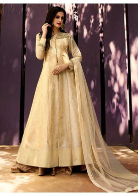 A137 SALWAR.UK Beige Art Silk Jacquard Long Length Salwar Suits