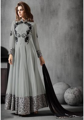 A130 SALWAR.UK  Embroidered Abaya Style Georgette Suit in Grey