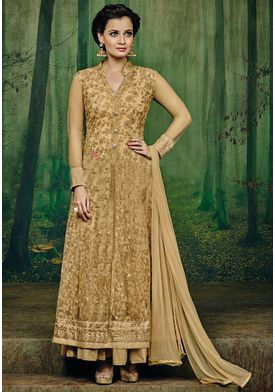 A134 SALWAR.UK  Embroidered Pakistani Front Slit Georgette Suit in Beige