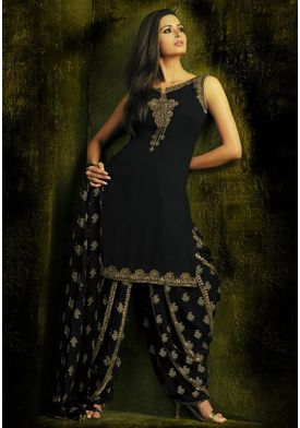 A146 SALWAR.UK  Embroidered Straight Cut Georgette Suit In Black