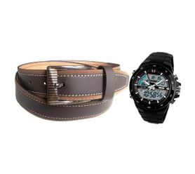 V-LUMA COMBO OF BROWN LEATHER BELT WITH SKMEI SPORTS BLACK WATCH VLCOM09023