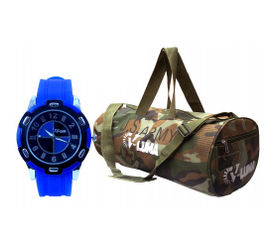 V-LUMA COMBO OF ARMY GYM BAG WITH BLUE SPORT WATCH VLCOM1026