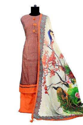 Brown Orange Suit With Peacock Silk Printed Dupatta