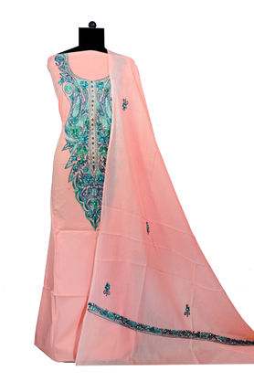 Kashmiri Pure Cotton Embroidered Peach Color Suit With Dupatta
