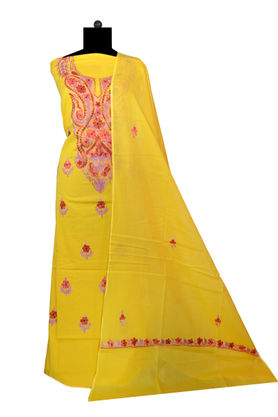 Kashmiri Pure Cotton Embroidered Yellow Color Suit With Dupatta