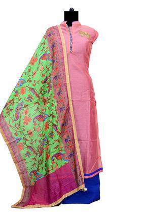 Pink Maheshwari Designer Suit With Silk Blendedded Dupatta