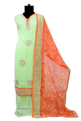 Pure Georgette Gotta Patti Green Orange Suit With Mirror Work Dupatta