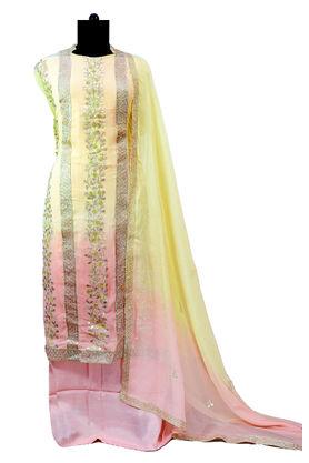 Pure Georgette Gotta Patti Lemon Pink Suit With Gotta Work Dupatta