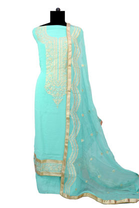 Pure Georgette Green Silver Embroidered Suit With Chiffon Embroidered Dupatta