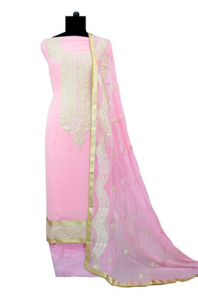 Pure Georgette Pink Silver Embroidered Suit With Chiffon Embroidered Dupatta
