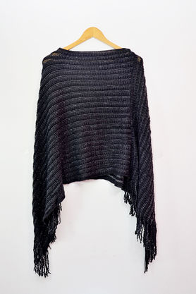 Pure Wool Black Silver Lining Poncho