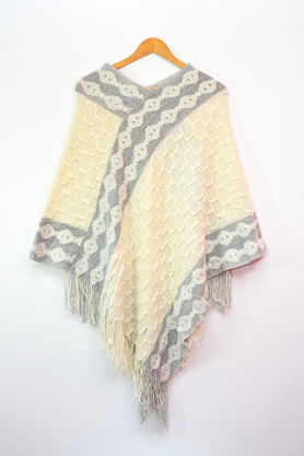 Pure Wool Off White Grey Poncho