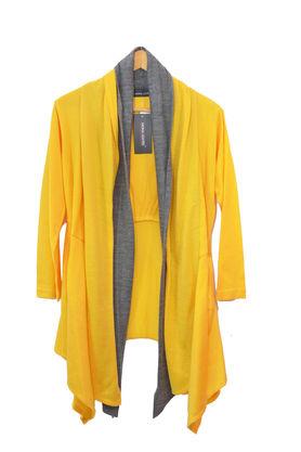 Pure Wool Yellow Grey Shrug