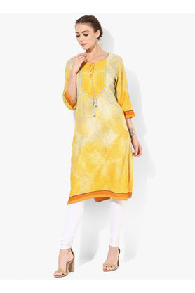Shree Yellow Printed Rayon Kurta