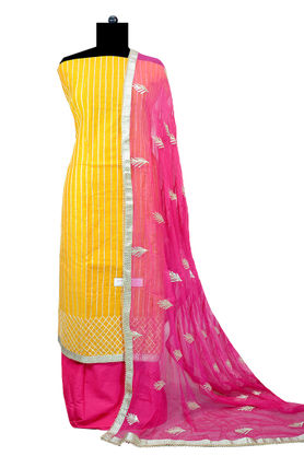 Yellow Magenta Hand Embroidered Gotta Work Maheshwari Suit With Gotta Embroidered Dupatta